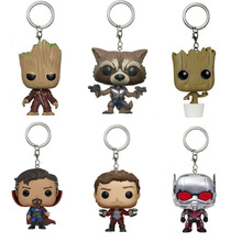 Marvel Ant Man Doctor Strange Guardians Of the Galaxy Vol. 2 Keychain Toy Tree Man Rocket Star-Lord Vinyl Bobble-Head Toy Antman