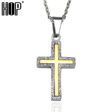 HIP Two Tone Micro Crystal Pave Stainless Steel Bling Cross Necklaces  Pendants for Men Women Fashion Jewelry 1adacf69250d