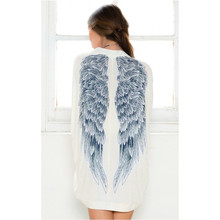 Fashion1 PC Women Girls Long Sleeve Blue Angel Wings Prints Loose Spring Autumn Coat Cardigan Jacket Tops White(China)