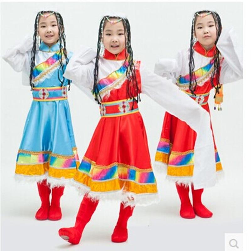 New Year Children Ethnic Minorities Dance Costume Exquisite Colorful Kid Tibetan Style Dress Mongol Nationality Rainbow Dress<br><br>Aliexpress