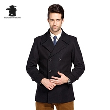 New mens wool pea coat designer autumn and winter fashion high quality plus size business wool coat for men pull homme D42F8883
