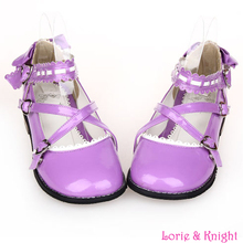 Japanese Sweet Lolita Cosplay Shoes Criss Cross Ankle Strap Princess Shoes Square Low Heel Dolly Girl Shoes Purple