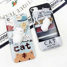 For Alcatel Idol 2 3 mini 2S Pixi 4 Pop 3 4 4S C3 C7 C9 D3 D5 S7 Squishy Stereo Cat Claw Doll Case Mobile Phone Cover Bag Cellph(China)