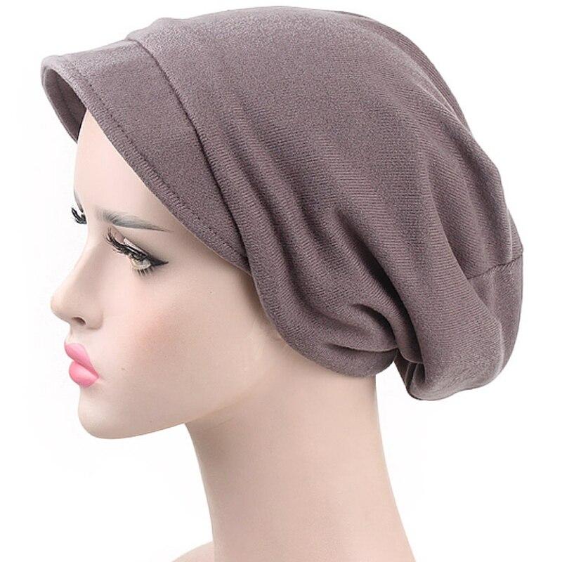 Großhandel Womens Einfarbig Winddicht Beanie Cap Mit Krempe Turban ...