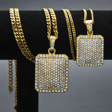 Men Army Style Necklace Gold And Silver Plated Full CZ Iced Out Charm Dog Tag Pendant Necklace Hip Hop Bling Bling Jewelry(China)