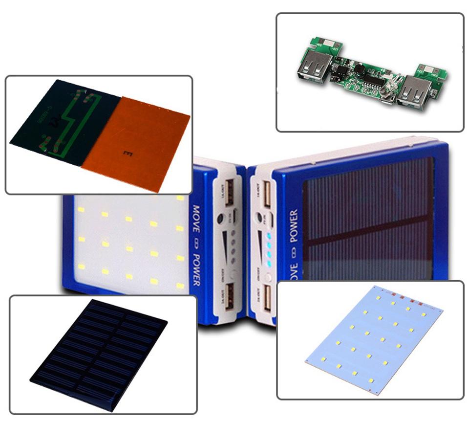 Icoque 18650 Solar Power Bank Case DIY Box Dual USB Kit Phone Charger Flashlight 5x18650 Powerbank Portable Pover Power Bank (2)