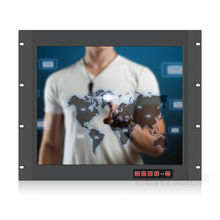 "19"" rackmount touch monitor high brightness LED backlight industrial touchscreen monitor for PC front keyboard vga monitor(China)"