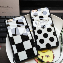 Brand Square Polka Dots Live your Dreams Luxury Mirror Case Soft Phone Cover Coque Fundas Capa for apple iphone 5 5s 6 6s 7 plu(China)