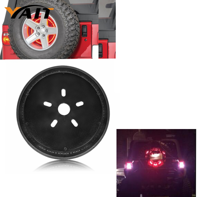 Spare Tire Cover Red Light Third 3rd Brake Light for 2007-2017 Jeep Wrangler JK JKU Unlimited Rubicon Sahara<br>