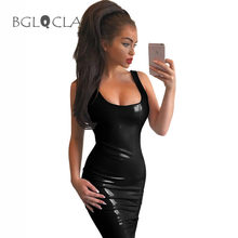 Buy 2017 Summer Sheath Latex Dress Women Tank Midi Dresses Female Vestidos Pencil Sexy Clubbing Slinky Prom Party Bodycon Dress
