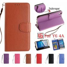 Cheap Best New PU Leather Flip Filp Wallet Phone Cell Mobile Case fundas Cover Cove For Huawei Ascend Y6 4A 4 A Brown Purple