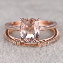 Ring Women Ring 2pcs 2.7CT Morganite Engagement Ring 14k Rose Gold white topaz side stone 7x9mm Gemstone Promise Bridal Set
