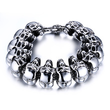 Mens Skull Links Chain Bracelet in Silver Color Stainless Steel Large Heavy Gothic Punk Bike Jewelry Pulsera Pulseras bileklik