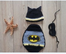 Crochet knit Batman pattern photography props kintted hat and cover costume set for newborn props