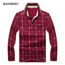 2017 Autumn New Men Print Polo Shirt Fashion Leisure Cotton Plaid Long Sleeves POLO Shirt Brand Men's Clothing(China)