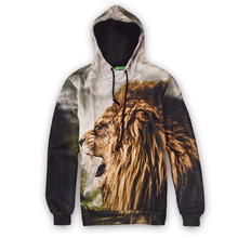 Spring Autumn Animal lion Girl Print men clothing Loose casual Creative Cedar Spruce sweatshirt long-sleeve hoodies
