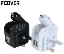 US/UK/EU Plug Adapter Car charger Dual USB Port 5V 1A 2.1A Universal 2 In 1 Car & Home Travel Car Charger Mobile Phone(China)
