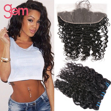 Ear To Ear 13x4 Lace Frontal With Bundles 4 bundles Water Wave With Frontal Indian Virgin Hair With Lace Frontal Closure Curly