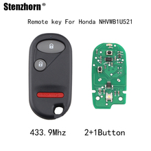 Stenzhorn 3pcs*433.9Mhz Remote Keyless Key Fob For Honda Civic 2001 2002 2003 2004 2005 For Honda NHVWBIU523 NHVWBIU521 keys(China)