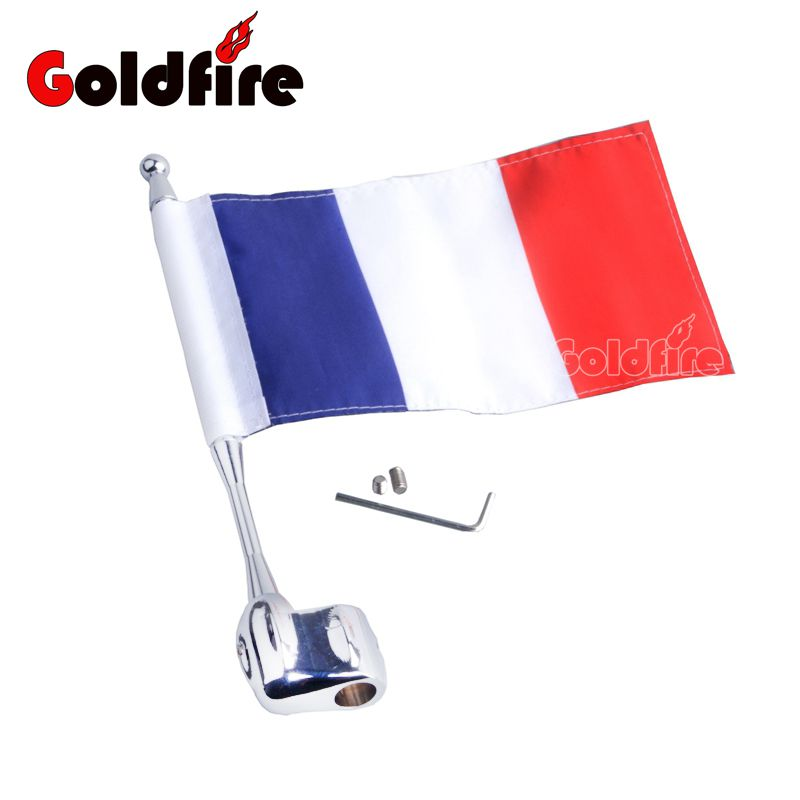 Motocycle Flag CNC Rear Side Mount Luggage Rack Antenna Vertical France Flag Pole For Honda GoldWing GL1800 GL1500 2001-2012<br>