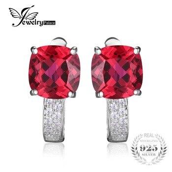 JewelryPalace Подушки 4.6ct Создан Красный Рубин Клип На Серьги Серьги Стерлингового Серебра 925 Изысканные Ювелирные Изделия для Модных Женщин