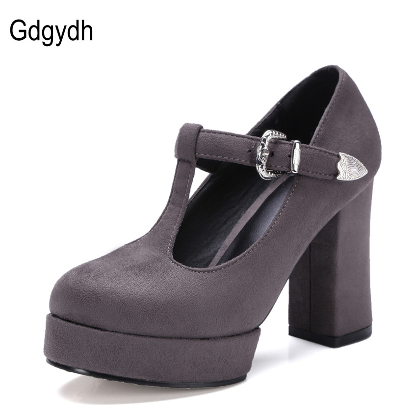 Gdgydh Fashion Working Causal Shoes Women New Arrival T-strap Flock Platform Brown Womens Pumps For Russian Big Size 34-42<br><br>Aliexpress