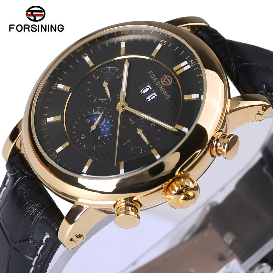 Forsining Men Watch Top Brand Luxury Automatic Male Wrist Watch 2017 Luxury Rose Golden Series Moon Phase Calendar Design Clock <br><br>Aliexpress