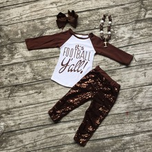 girls football outfit clothing sets girls It's football Y'all clothes girls brown sequin pant sets with necklace and bows