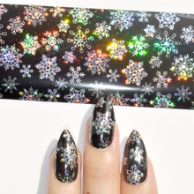 1 Roll Laser Silver Nail Foil Stiker Snowflake Holographic Black Base Decals Art Decoration 615