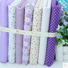 7 pcs/ lot purple series no repeat design charm diy quilting patchwork textiles for doll cloth baby cloth 48*48cm