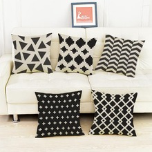 decorative cushion cover pillows linen Black and white simple geometry pattern printing Pillow cover cushions Free shipping