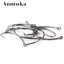 Anmuka 50Pcs/Lot Free Shipping Size6#-8# Fishing Crank Hook Barbed Fishing Tackle