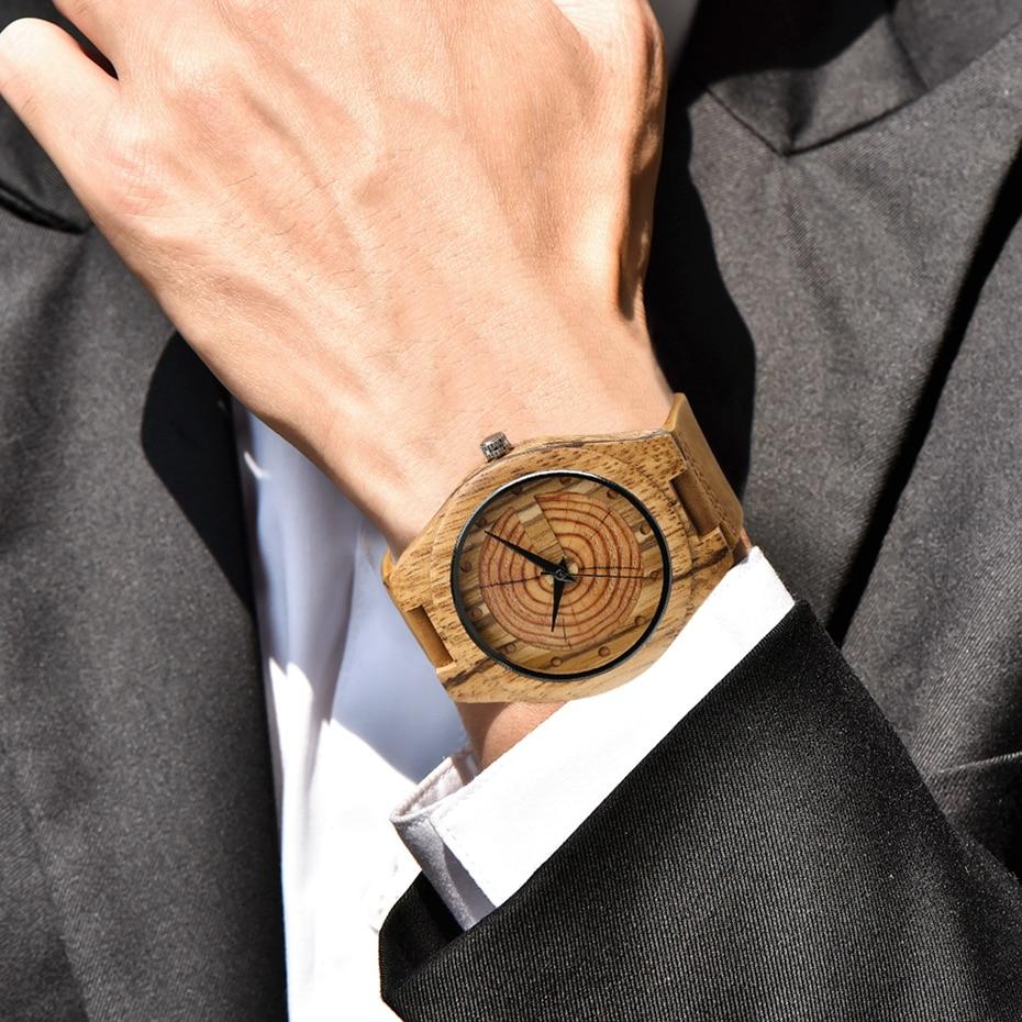Zebra Wood Watches for Men Fashion Circle Round Japanese Quartz Movement Casual Genuine Leather Wrist Watch Male Reloj de madera 2018 (1)
