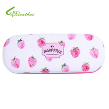 NEW Eyewear Accessories Hard Case Eyeglasses Box Cute Fruit Pattern Protable Metal Sunglasses PU Leather Hard Eye Glasses