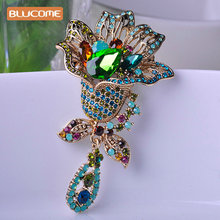 Blucome Shining Big Green Flowers Brooches For Women Vintage Crystal Brooch Corsage Women Sweater Hats Scarf Suit Jewelry Pins