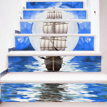 6 Pieces/Set Creative DIY 3D Stairway Stickers Moonlight Sea Ship Pattern for Room Stairs Decoration Floor Decals Wall Sticker