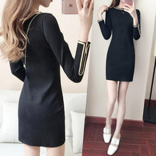 sleeve head T-shirt dress bag hip slim dress dress every day special offer in spring and autumn plus velvet in Korean