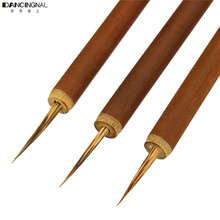 Wholesale 1 Pc Weasel Acrylic Nail Brush Liner Pen Painting Delicate Bamboo Drawing Nails Tool Art Finger Brushes Free Shipping(China)