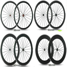 Free shipping OEM logo 38/50/60/88mm alloy rim bicycle carbon wheels T800 road bike wheels clincher taiwan carbon wheels set