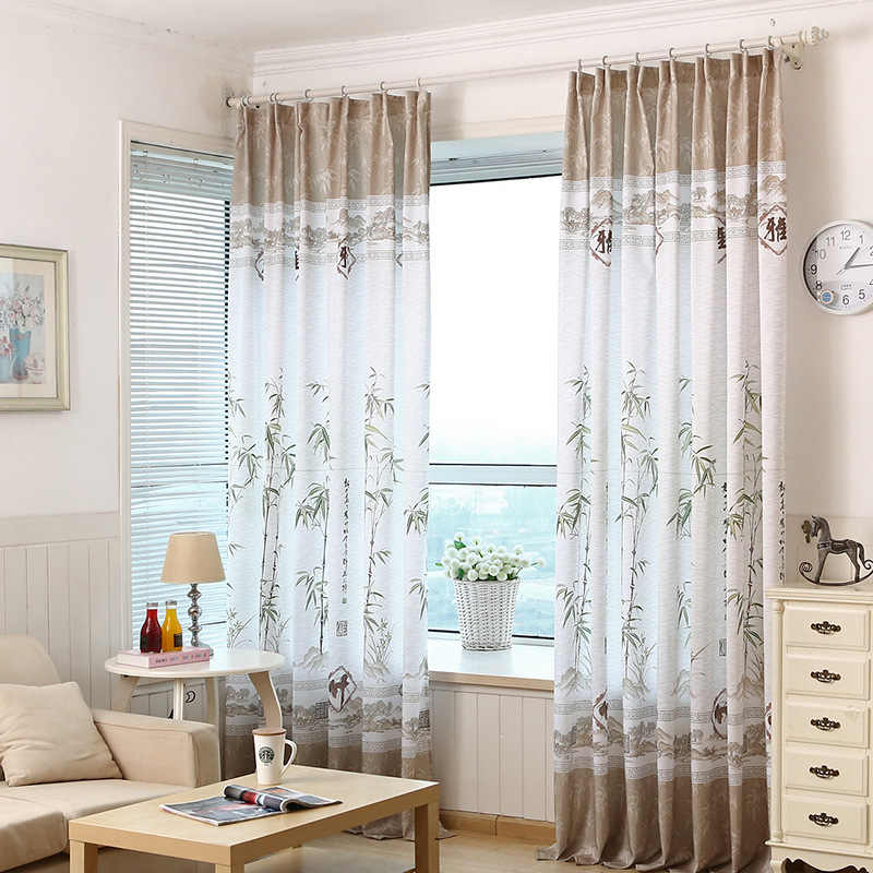 Window Curtains for Living Dining Room Chinese Traditional Ink Painting Bamboo Printing Curtains for Bedroom Drapes Tulle Sheer