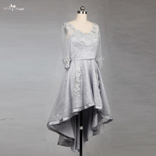 RSE780 Silver Lace High Low Skirt Long Sleeve Bridesmaid Dresses Short(China)