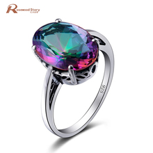 Luxury Princess Oval Cut Mystic Rainbow CZ Colorful Wedding Rings For Women Ladies Engagement 925 Sterling Silver Cool Ring