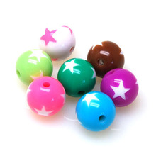 Beads,16mm round solid color plastic beads with stars,round 16mm star round beads,sold of 220 Pcs/lot