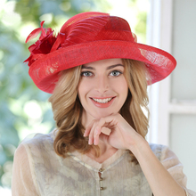 2017 Fashion Ladies Red Ivory Royal Blue Linen Hat Large Brim Womens Vintage Summer Hat Church Sinamay Hat Bases Hats