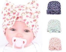 2017 Hot Sale Fashion Newborn Baby Girls Little Flower Bowknot Beanies Hat Infant Kids Comfortably Hospital Caps