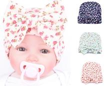 2017 Hot Sale Fashion Newborn Baby Girls Little Flower Bowknot Beanies Hat Infant Kids Comfortably Hospital Caps(China)