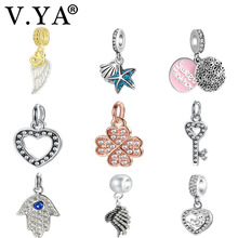 V.YA Fits for Pandora Charm Bracelet Necklace Key/Star/Mother Charm Beads for Jewelry Making Women Men Gifts(China)