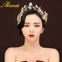 New Vintage Women Baroque Gold Tiara and Hair Clips Handmade Wedding Pearls Crown Crystal Bridal Hair Decoration Accessories