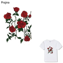 Prajna Flower Rose Printing Thermal Iron On Transfers For T Shirt Fabric Hot Vinyl Heat Transfers For Clothes Stickers Patches