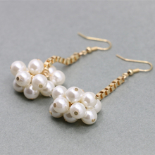 promotion price Natural imitation pearl flower black&white earrings  brand cc allied express jewelry